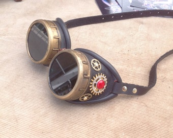 Black leather steampunk goggles - gears