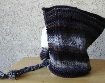 Handmade Knit Knitted Cozy Hood Gray Coffee Black Elf Pixie Hat