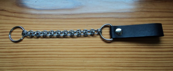 """13"""" stainless steel and Leather  Barrel Weave Chain Mail  Wallet/key Chain"""