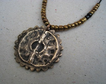 Hammered Oxidized Maya Bronze Pendant with Antique Metallic Bronze Glass Seed Beads - Bronze Necklace - Bead Necklace
