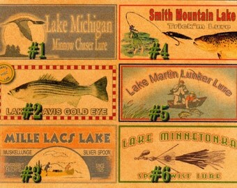 Fishing lure boxes lake house cabin lodge decorations PERSONALIZED