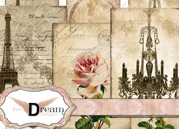 Digital Instant Download Vintage French Writing Paris Romantic Shabby Backgrounds for ACEO ATC altered art digital collage sheet