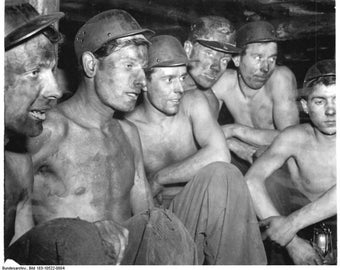 early coal miners image vintage