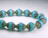 Turquoise Opalite Twisted Turbine Bead Picasso Czech Glass Beads 11x10mm Faceted 10 pcs. T-1006