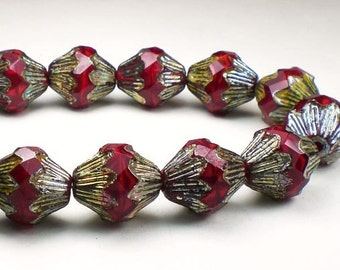 Picasso Czech Glass Beads Baroque Bicone Red Czech Glass 13 x 12mm 6 Pcs. BB-688