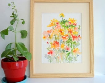 From the Garden No.1, Watercolor Flowers Fine Art Print, Yellow and Orange Flowers