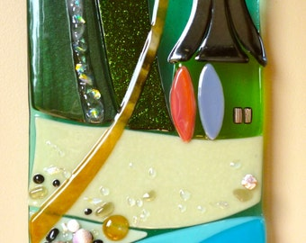 Favorite Getaway Wall Art  Shelly Batha Hawaii Island Fused Glass