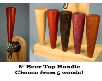 Wood Beer Tap Handle - Your Choice of Wood - 6 Inches Tall - Made To Order