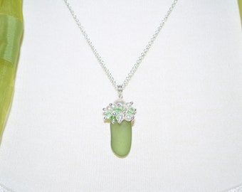 Sea Glass Jewelry Beach Clustered Necklace  in Olive with Sterling Silver and Pearls 1295C