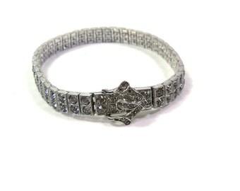 Sterling Silver & Rhinestone Bracelet That Looks Like A Belt Buckle vintage 50s