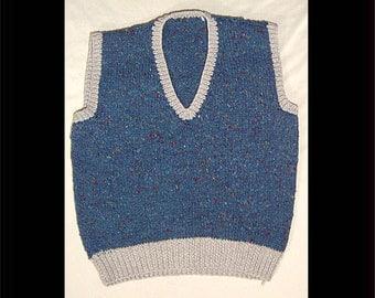 Nerdy Vintage chunky knit vest - men small / women medium - top - denim blue flecked wool sweater top - with grey