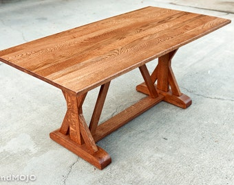 Trestle Dining Table - Abbott's Collection - Custom Furniture - Elegant Design - Solid Hardwood - Handmade in the USA