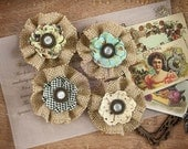 "NEW: Prima Cigar Box Secrets ""Belicosa"" 578657 Neutral Burlap and Paper Flowers. Fascinator or Hat Design Appliques."