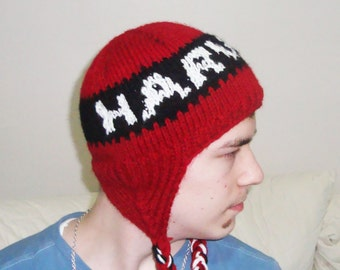 Hand Knit Harvard Hat Harvard Personalized Hat Knit Hat Men, Women or Teens Hat in Red, Black, White