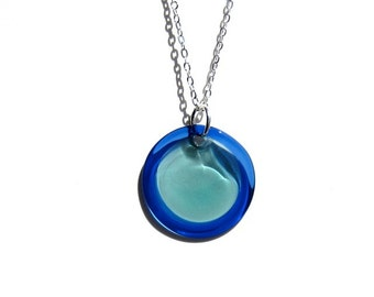 Glass Lollipop Pendant - Blue and Teal