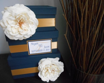 3 tiered Modern Wedding Card Box with personalized tag You Customize Colors and Flowers- shown navy and gold ivory roses