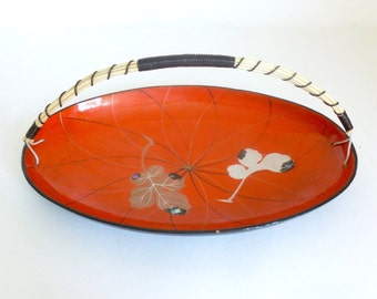 Mid Century Orange & Black Asian Lacquerware Tray with Handle and Leaf Design