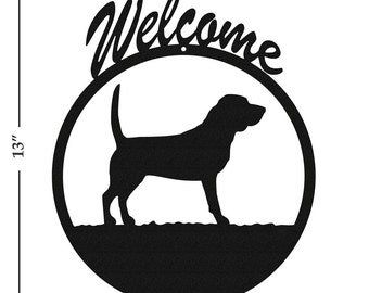 Dog Beagle Black Metal Welcome Sign