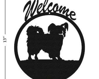 Dog Papillon Black Metal Welcome Sign