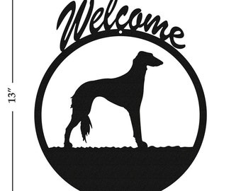 Dog Saluki Black Metal Welcome Sign