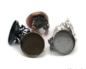 Multi Assortment set of 5 25mm Poppy Original Bezel Cup Tray Ring for Resin or Glass Cabochon  Adjustable