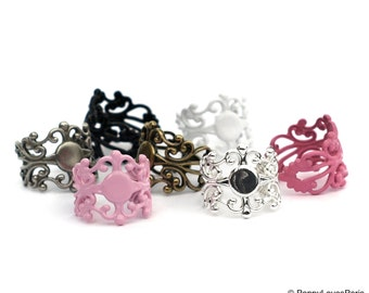 YOUTH Multi Assortment set of 7 Filigree Ring Base with Pad....TOP QUALITY....the best available....15mm Tall