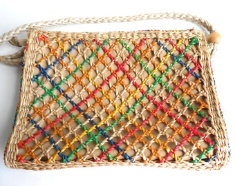 Vintage 1970s Multicolored Straw and Linen Handbag