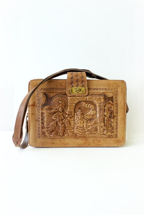 Vintage 1950s Handbag - 50s Tooled Leather Handbag - The Globetrotter