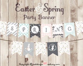 Easter & Spring Party Banner Printable I N S T A N T • D O W N L O A D