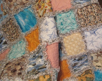 MADE TO ORDER - Beach Themed Rag Quilt, Couch Throw, Picnic Blanket, Beach Blanket, Patchwork Quilt, Toddler Quilt