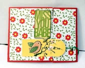Miss You Babe Bird Floral Tri-Fold Card