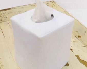 White linen reversible tissue box cover