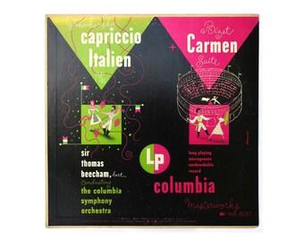 "Alex Steinweiss record album design, 1950. ""Tchaikovsky Capriccio Italien / Bizet Carmen Suite"" LP"