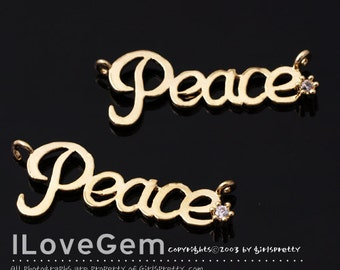 NP-1506 Gold plated, Peace, Pendant, 2pcs