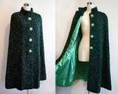 Vintage Black and Green Wool Tweed Cape Coat Fab Buttons - VintageDevotion