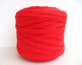 Bright Red T-Shirt Yarn, Cotton Fabric T-Shirt Tricot, Fabric Jersey Ideal for Necklaces, Bracelets, Rugs and Bags - 2,7m/3 yards(1piece)