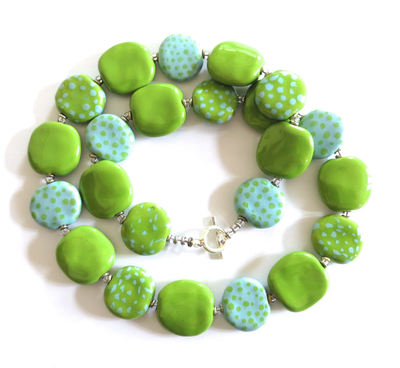 Ceramic Bead Beads: Ceramic Jewelry Kazuri Bead Necklace