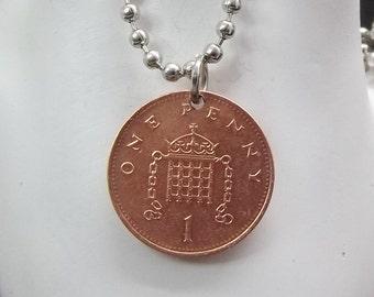 England Coin Necklace, 1 Penny Coin, Ball Chain, Coin Pendant, Ball Chain, Men's Necklace, Women's Necklace, 1997