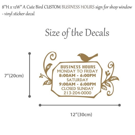 H X W A Cute Bird Custom Business Hours Signvinyl - Cute custom vinyl stickers   for business
