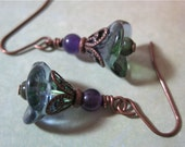 African Violet Earrings Antiqued Copper Czech Glass Green Purple Botanical Style Dangle Handmade