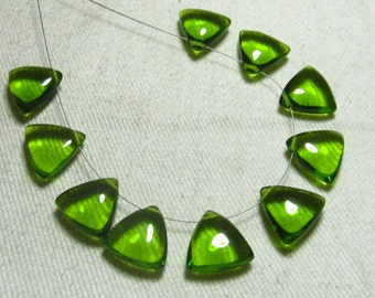 Brand New - 5 Matched Pairs - PeridotGreen Quartz -Smooth Trillion Shape Briolettes amazing Gorgeous colour Huge Size 12x12 mm