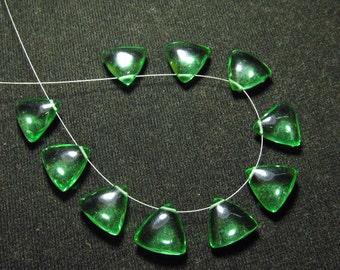 Brand New - 5 Matched Pairs -Green Flowrite Quartz -Smooth Trillion Shape Briolettes amazing Gorgeous colour Huge Size 12x12 mm