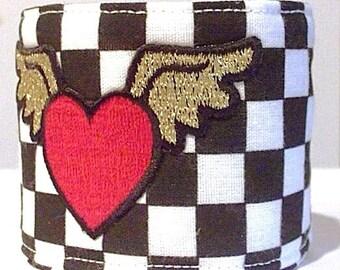 Fabric Cuff Bracelet Urban Retro Heart with Wings