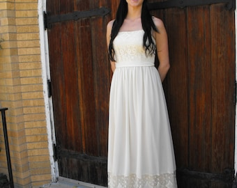 1970s Ivory Lace Dress Wedding Bridal Formal Sheer Boho Prairie Hippie 70s Vintage XS