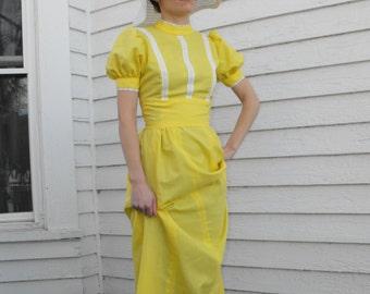70s Yellow Dress Prairie Maxi Vintage White Eyelet Sunshine XS
