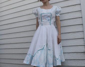 White Blue Print Square Dance Dress H Bar C Vintage S M