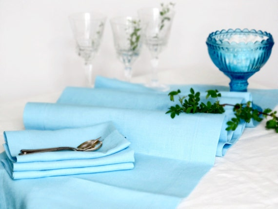 Light blue linen table runner handmade linen table cloth wedding