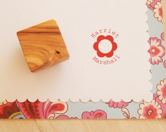 Custom Mini Flower and Name Olive Wood Stamp