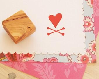Heart & Crossbones Olive Wood Stamp