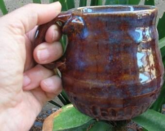 Evening Tide - Large Brown with Blue highlights Ceramic Mug